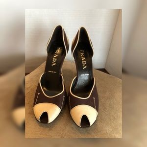 Rare Vintage Color Blocked Prada Slip on Heels